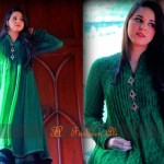 Dark Green Chiffon with Kundan Buttons Latest Semi Formal Eastern Women Dresses 2013 by Farheen Ali