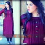 maroon Latest Semi Formal Eastern Women Dresses 2013 by Farheen Ali
