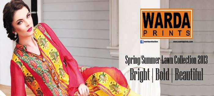 Warda Designer Latest Spring Summer Lawn Women Dresses Collection 2013-2014