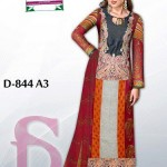 Latest 3 Piece Embroided Lawn Suits With Chaffon Dupatta For Women 0012