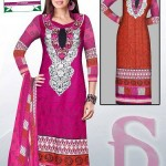 Latest 3 Piece Embroided Lawn Suits With Chaffon Dupatta For Women 0013