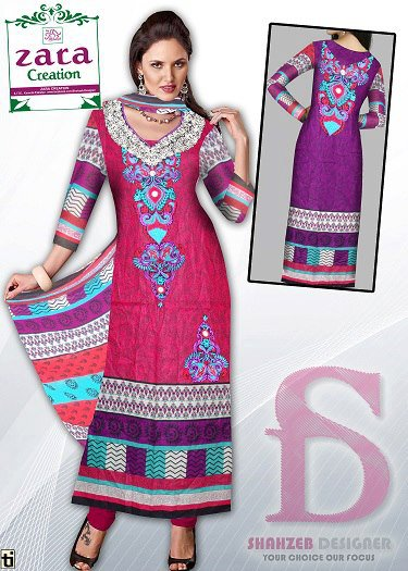 Latest 3 Piece Embroided Lawn Suits With Chaffon Dupatta For Women 009