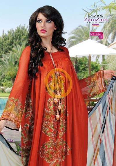 Zam Zam Chiffon Lawn Volume 2 By Dawood Collection 2013 For Women 001