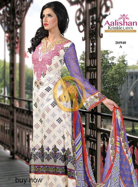 Aalishan Chiffon Lawn 2013 by Dawood Textile For Women 001