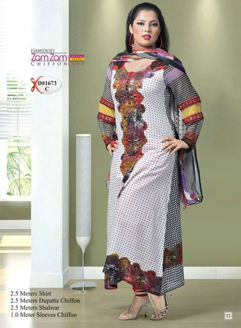 Dawod Zam Zam Chiffon Lawn Vol 2 2013 For Women 001