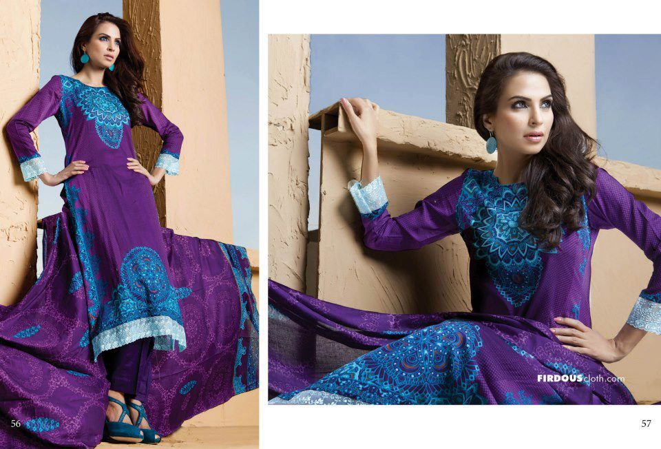 Firdous Lawn Suits Collection 2013 For Women 001