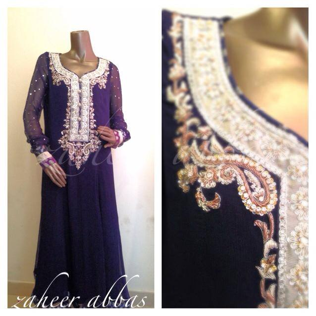 Zaheer Abbas Women Winter Long Party Outfits Collection 2013 001