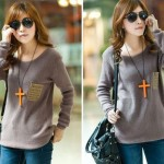 Latest Neck Loose Knitted Jumper Sweater Long Sleeve Collection for Girls 2013-2014 1