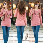 Latest Neck Loose Knitted Jumper Sweater Long Sleeve Collection for Girls 2013-2014 2