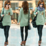 Latest Neck Loose Knitted Jumper Sweater Long Sleeve Collection for Girls 2013-2014 3