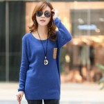 Latest Neck Loose Knitted Jumper Sweater Long Sleeve Collection for Girls 2013-2014 4