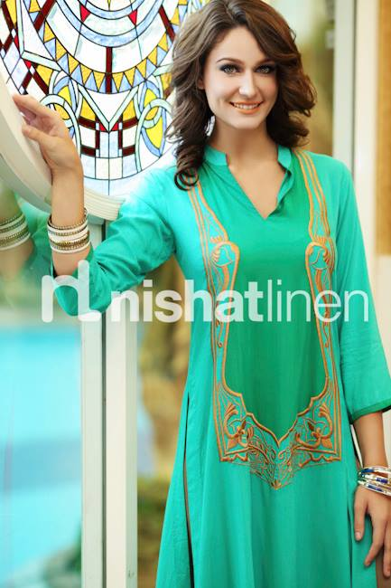 Nishat Linen Party Wear Collection 2013 by Nisha Fabric 001