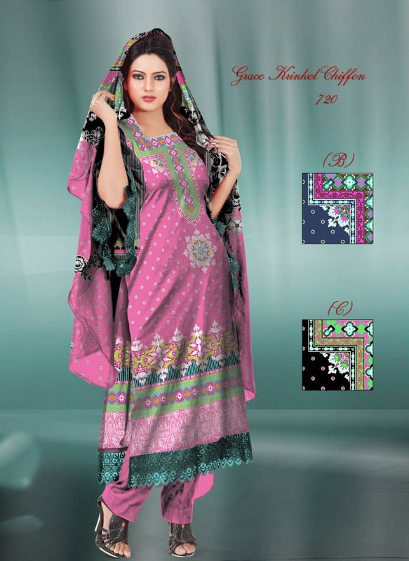 Al Hamra Textiles Latest Chiffon Dresses Collection 2014-15 For Girls 3