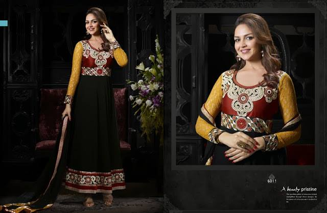 Esha Deol Dream Girl Indian Floor Length Suits Collection 2013-14 3