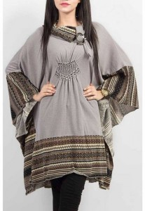 Grapes Woolen Poncho Stone Work Winter Collection 2014 003