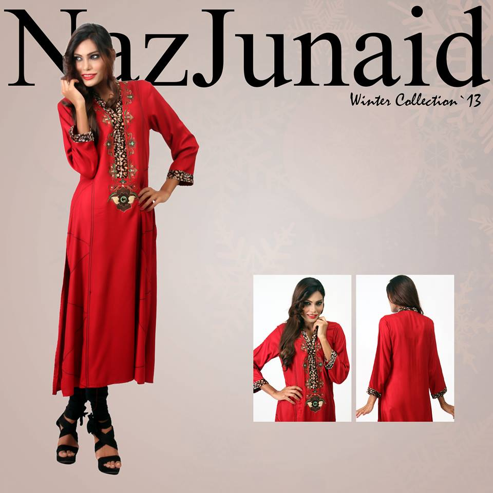 NazJunaid Latest Winter Party Dress New Collection 2014-15 For Women (1)