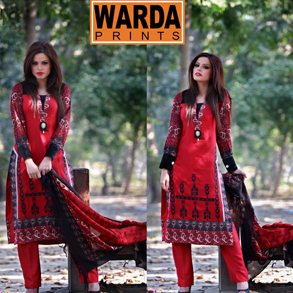 Stylish Warda Designer Winter Collection Silk Kurrandy Embroidered Dresses 2014 2