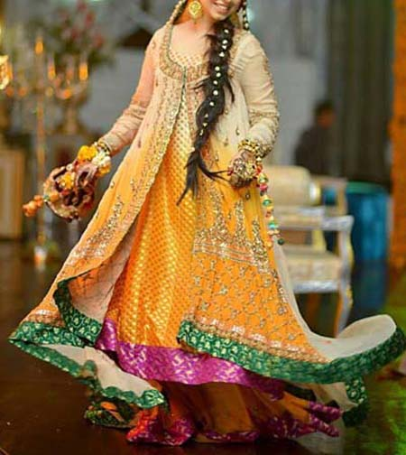Latest Bridal Mahndi Dress Collections 2014 001