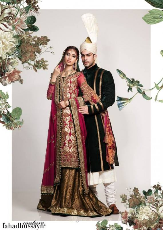 Fahad Hussayn New Wedding Collection 2014 for Bride & Groom