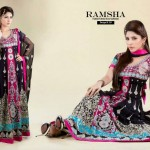Ramsha Fashion Fabrics Embroidered Dresses 2014 2