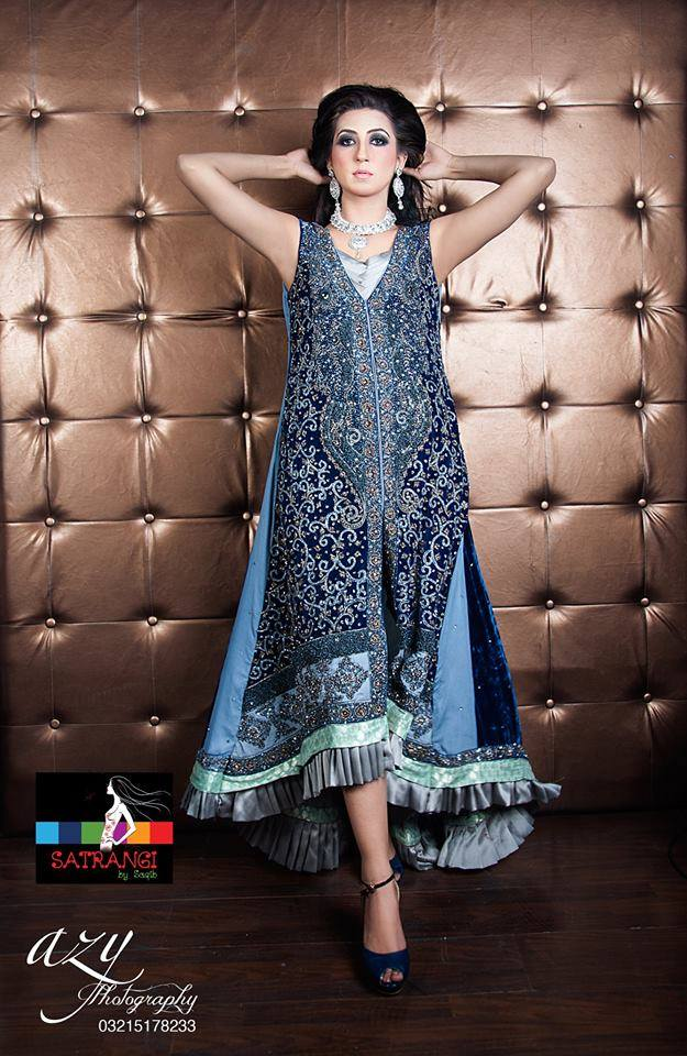Satrangi by Saqib Girls Party Wear Collection 2014 2