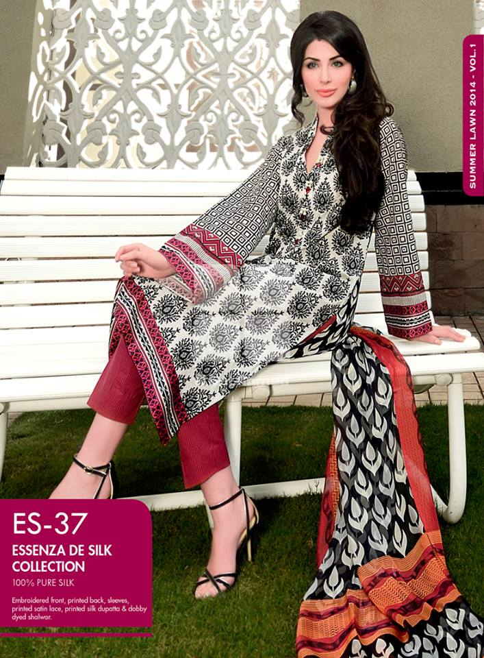 Gul Ahmed Essenza DE Silk Fancy Summer Lawn Collection 2014 3
