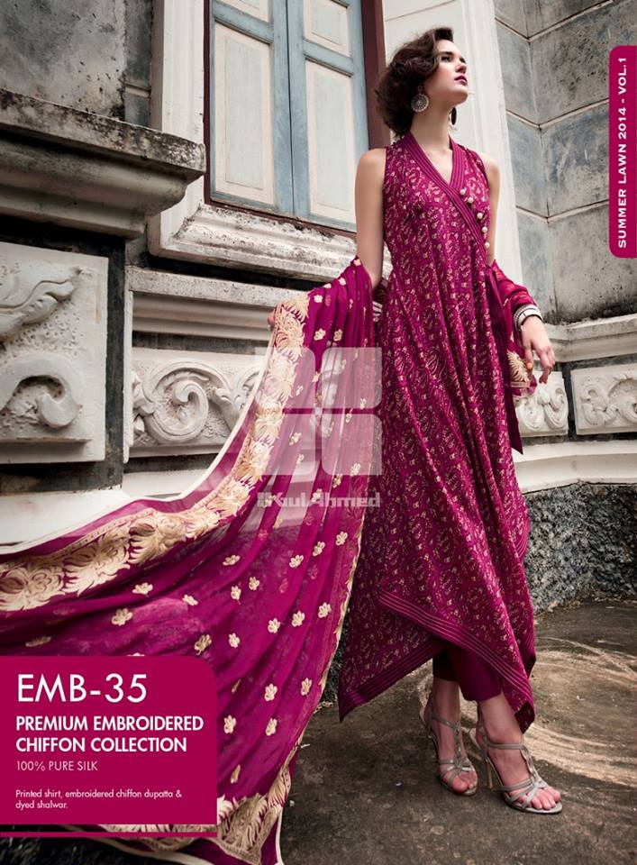 Gul Ahmed Spring Embroidered Lawns Wear Collection 2014 for Women