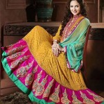 Rang - Designer semi stitched Anarkali suits. d2