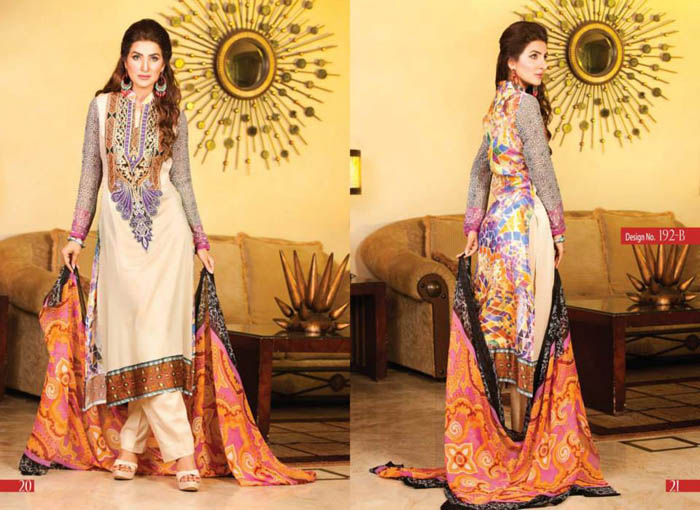 Gorgeous Eid Dresses Collection 2014  Monarca Vol.4 By Rashid Textile (7)
