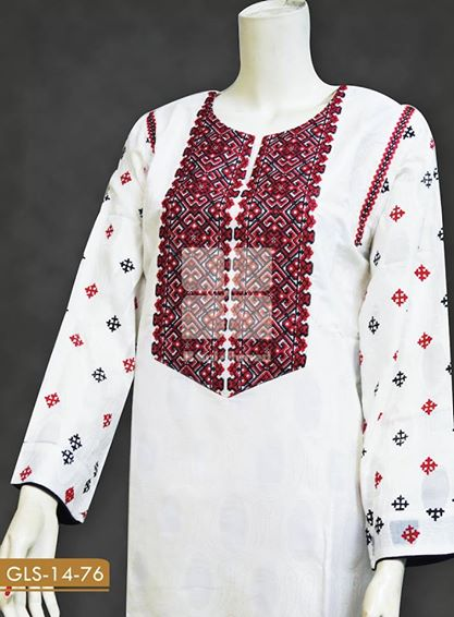 Gul Ahmed White Colored Jacquard Dresses Selection 2014 for Ladies (2)