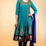 blue anarkali women dress 2014