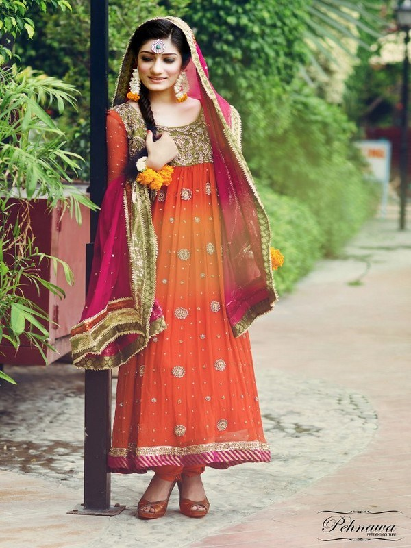 Famous Best Coloration Mehndi Attire 2014 (3)