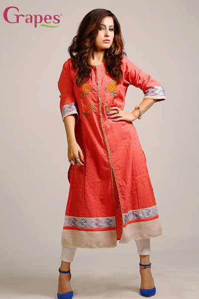 Grapes - G-138 - Chicken Embroidery Kurta 1