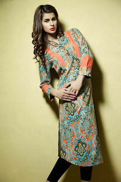 Satrangi Pret Wear Dresses Collection 2014 1
