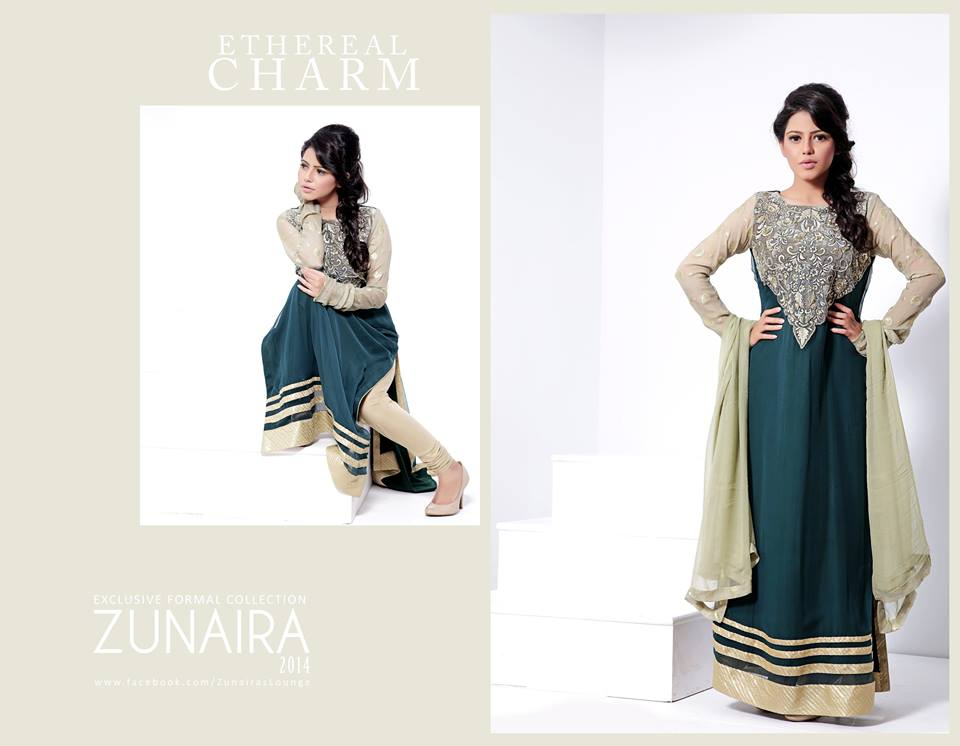 Zunaira's Lounge Party Wear Dress Collection 2014 1