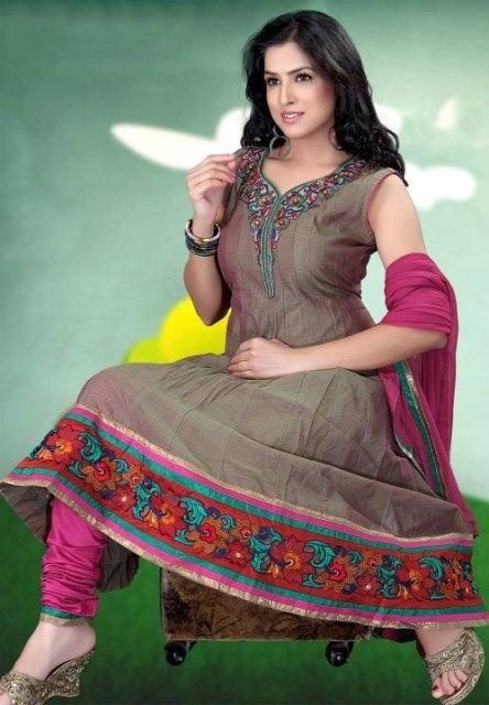 Attractive Churidar Anarkali Frock Compilation 2014 For Women (1)
