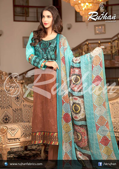 Rujhan Best Cool Summer Suits 2014 For Ladies (4)