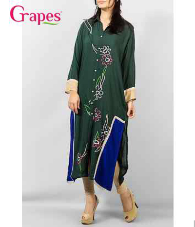 Grapes - G-155 - Ladies Cuff Embroidery Kurta 2014-15 11