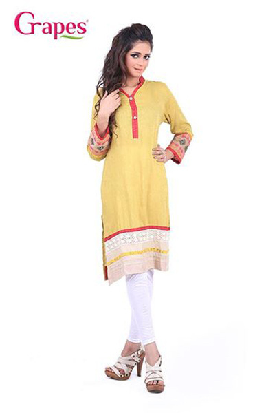 Grapes - G-155 - Ladies Cuff Embroidery Kurta 2014-15