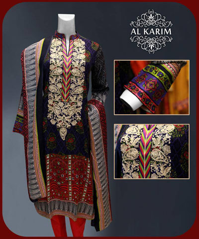 Al Karim Unique Lengthy Shirt Outfits 2014-15 For Girls (6)