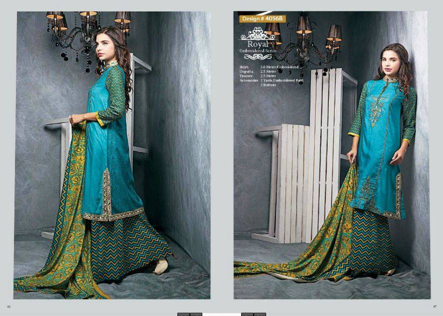 Ittehad Textile Fashionable Embroidery Clothes 2014 -15 (2)