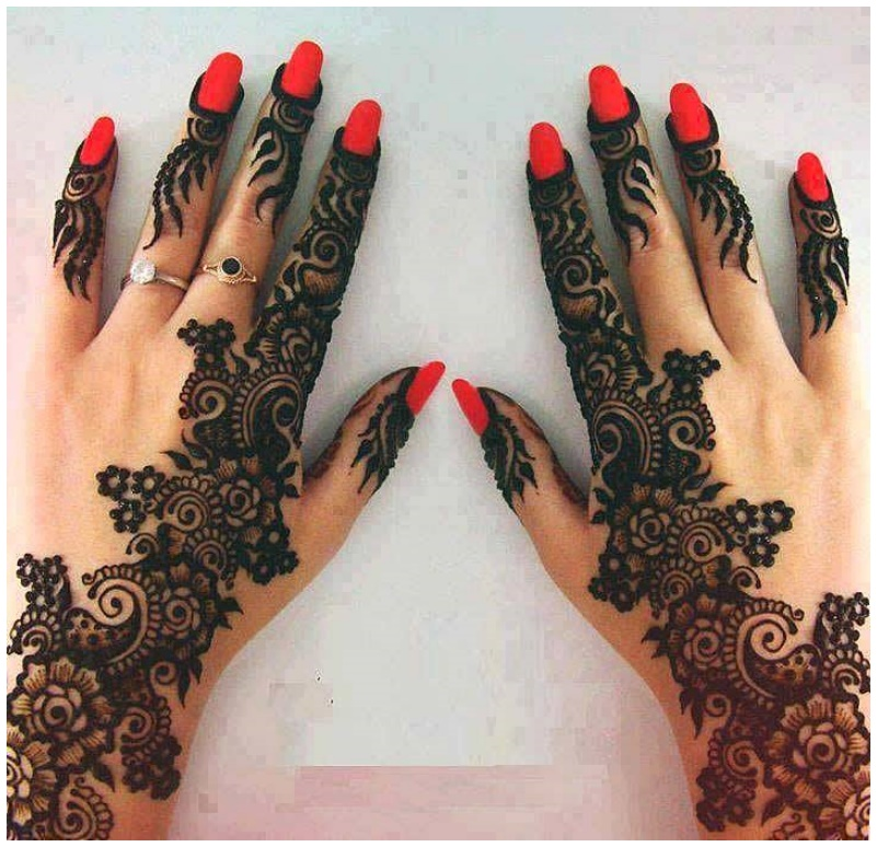 Half hadn Latest 2015-2016 Best New Mehndi Designs For Girls