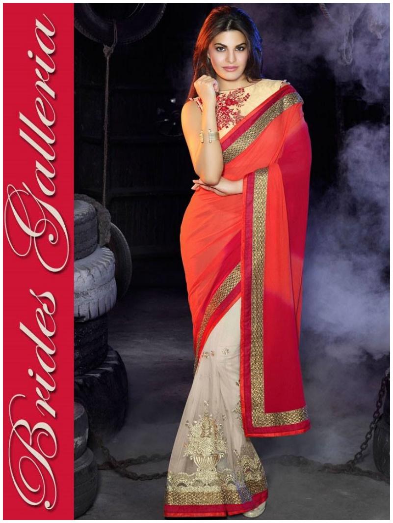 Hot Jacqueline Fernandez Indian Sarees 2016 Fashion Design (1)