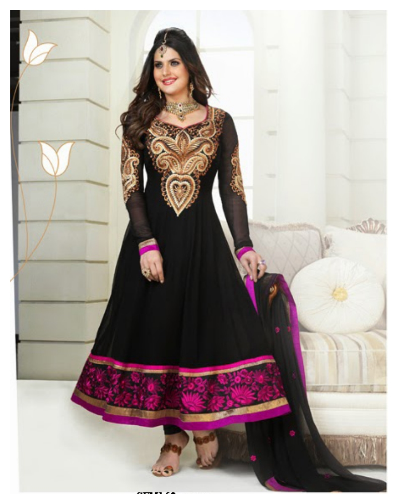 Bollywood Black Full Sleeves Anarkali Suits Design (1)