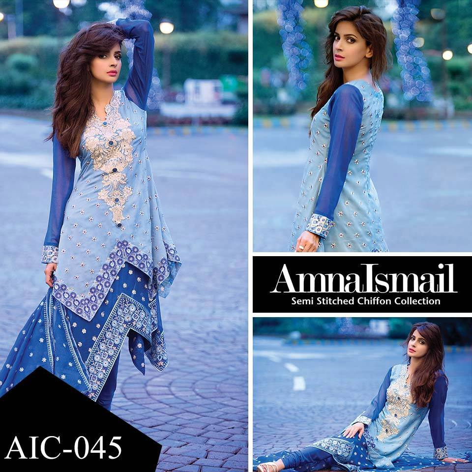 Amna ismail embroidered lawn summer fancy dress collection 2017