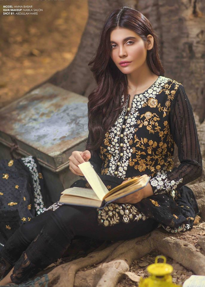 Mina Hasan Embroidered Chiffon Fabric Winter 2015-16