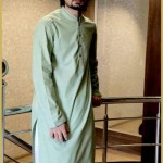 Brown kurta neck design by Widyaan