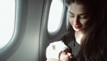 Ayeza Khan kissing here little baby