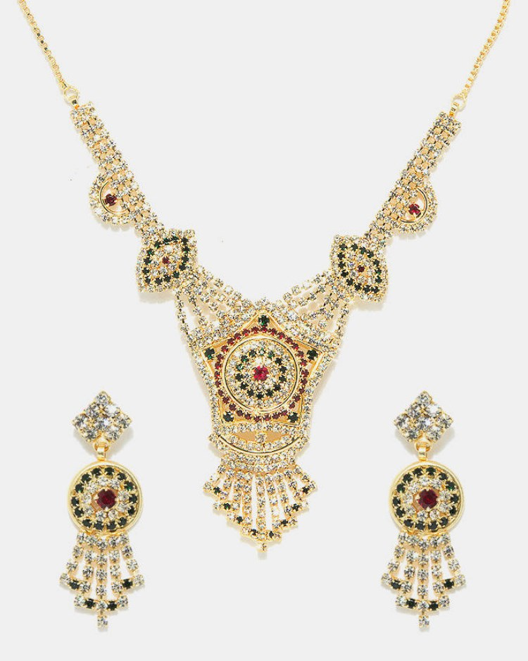 Jewelry Golden Indian Multiple Stone Jewellery Set 20163