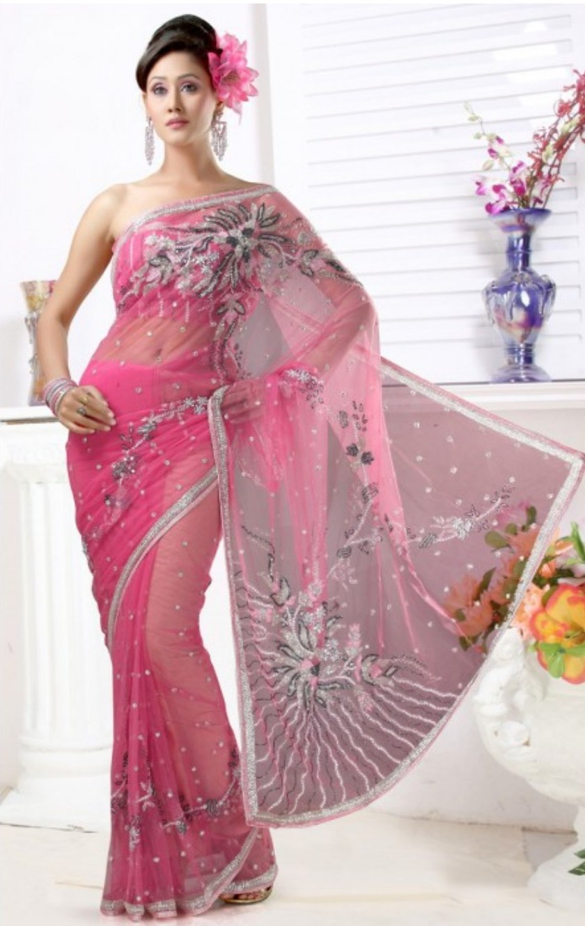 Pink hot Saree lehnga Blouse Design